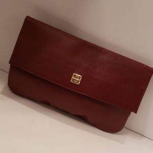 Givenchy Bags - Givenchy burgundy wine vintage leather clutch